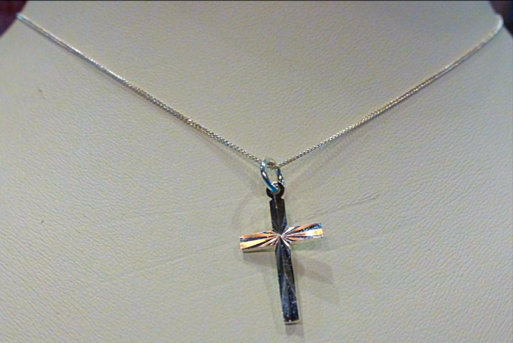 Silver Faceted Cross Necklace